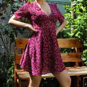 🎀 Reddish Purple Flower print dress